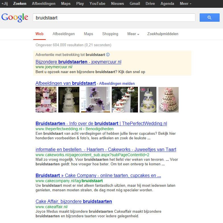 google bruidstaart serp