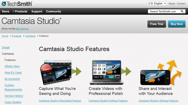 camtasia screenshot online video