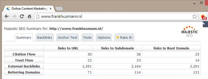majesticseo linkwaarde toolbar voorbeeld