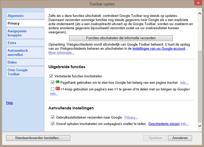 Google Toolbar PageRank installeren