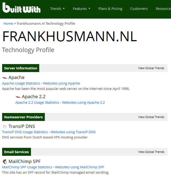 builtwith techniek website achterhalen